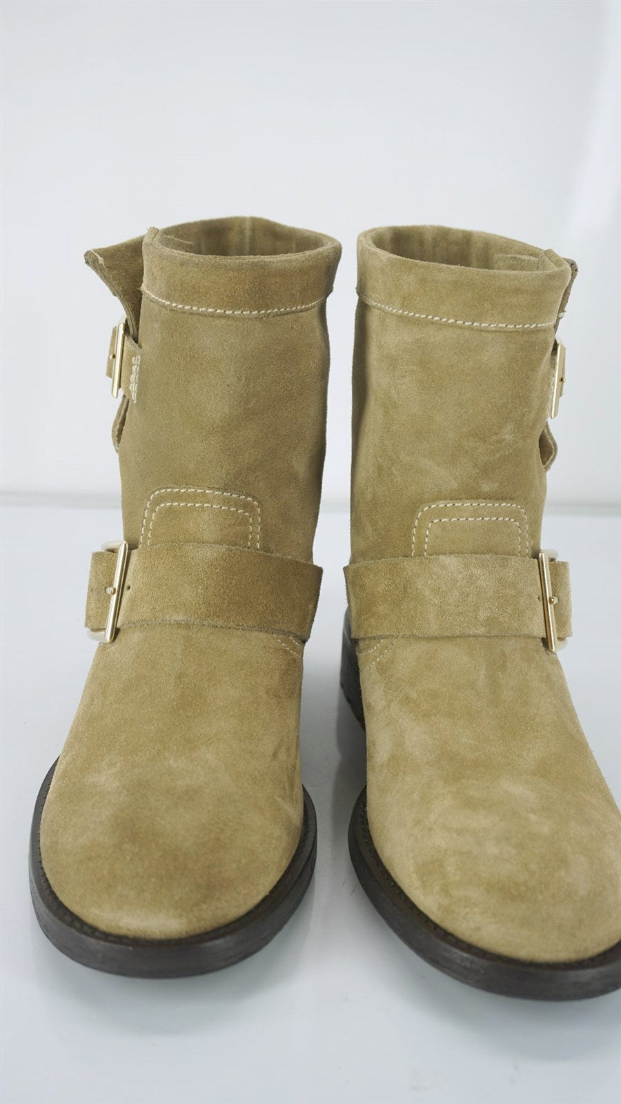Jimmy Choo Beige Suede Leather Double Buckle Ankle Biker Boots SZ 35.5 New $1150