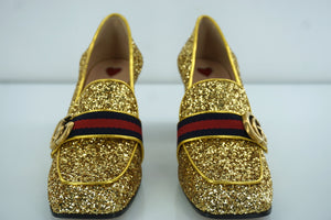 New Gucci Peyton Gold Glitter Block Heel Loafer Pumps SZ 37.5 GG Web Logo $1026