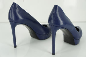 Saint Laurent Janis Blue Pointed Toe Platform Pumps Size 40 10 $775 YSL NIB Yves