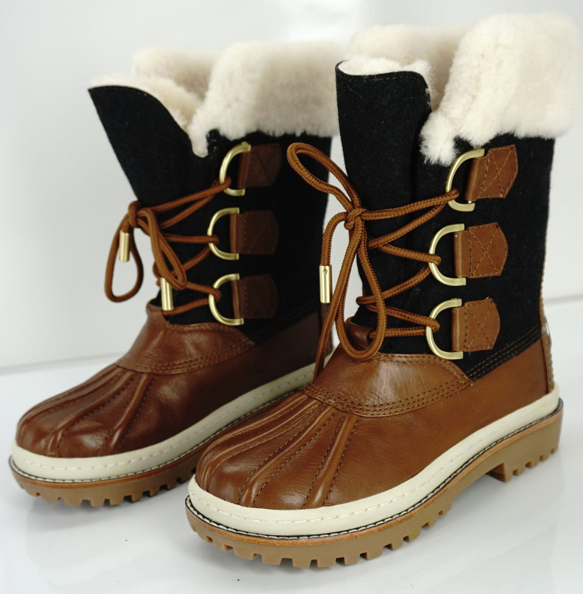 Tory Burch Grey Flannel Brown Leather Duck Boots Size 5 Shearling Trim NIB $295