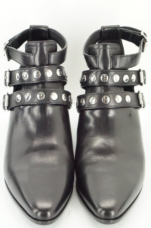 Saint Laurent Black Leather 3 Strap Rock Star Studded Boots Size 37 NIB $1095