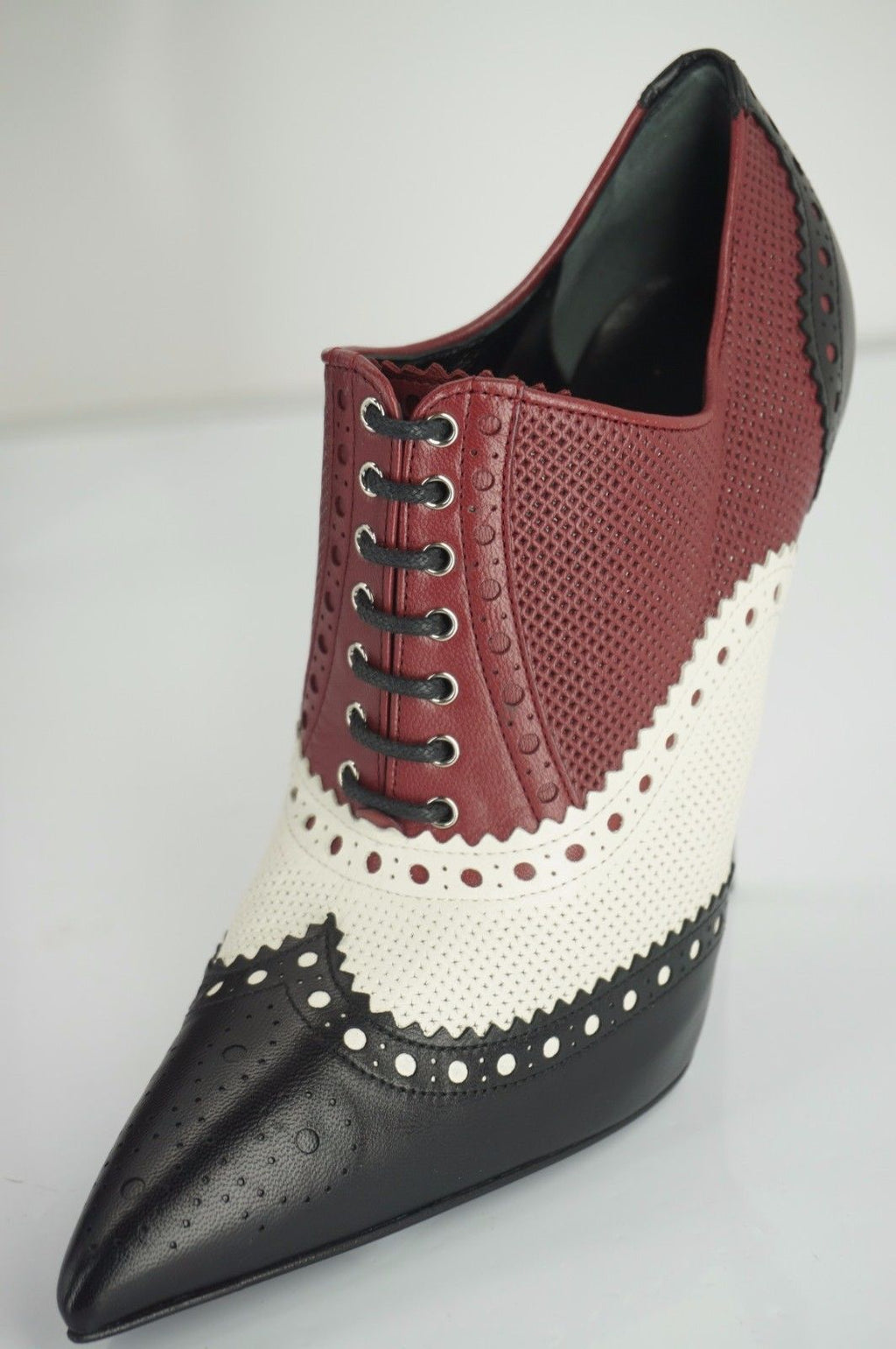 Gucci Womens Gia Tricolor Oxford Pump Red White Black Leather Size 35