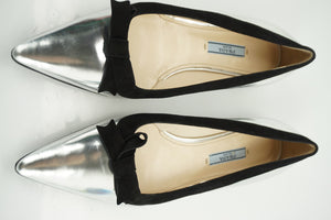 Prada Silver Leather Pointed Bow Toe Ballet Flats Size 39 New Women's $655 Black