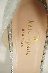 Kate Spade New York Silver Glitter Sage d'Orsay Open Toe Heel Pumps Size 7 $298