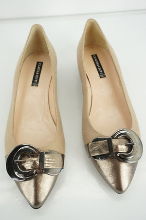 Claudia Ciuti Nude Thea Buckle Cap Pointed Low Heels Pumps Size 7 New $300