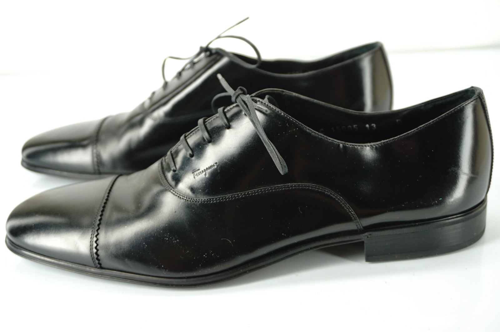 Salvatore Ferragamo Remigio Black Leather Oxfords Shoes size 13 D cap toe $560