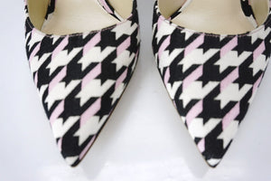 Christian Dior White Pink Check Plaid Volt Pointy Toe Pump SZ 36.5 $680 NIB 80MM