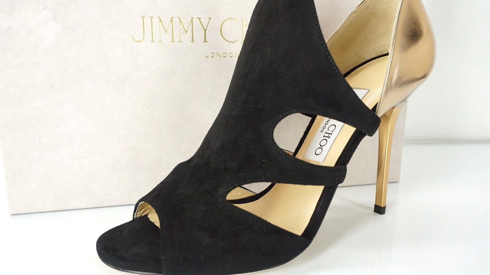 Jimmy Choo Tarine Black Suede Gold Leather Open Toe Cut Out Sandals SZ 38.5 $895