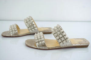 Christian Louboutin Myriadiam Embellished Cork Double-strap Slide Sandals SZ 36