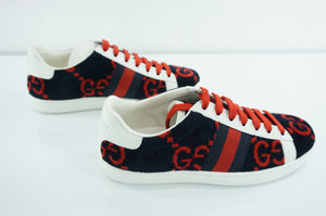 Gucci New Ace Blue Velour Low Top Sneakers Size 35 GG Logo Stripe Lace Up Terry