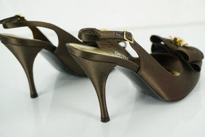 Stuart Weitzman Brown Satin 'Jumbo' Jewel Bow Slingback Pump Size 37.5 NIB $285