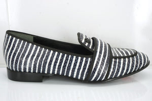 New Tory Burch Evette Stiped Loafer Flats SZ 5 Strap Snake $325 NIB