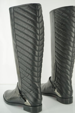 Stuart Weitzman Raceway Black Leather Stretch Back Riding Boot Size 6.5 New $695