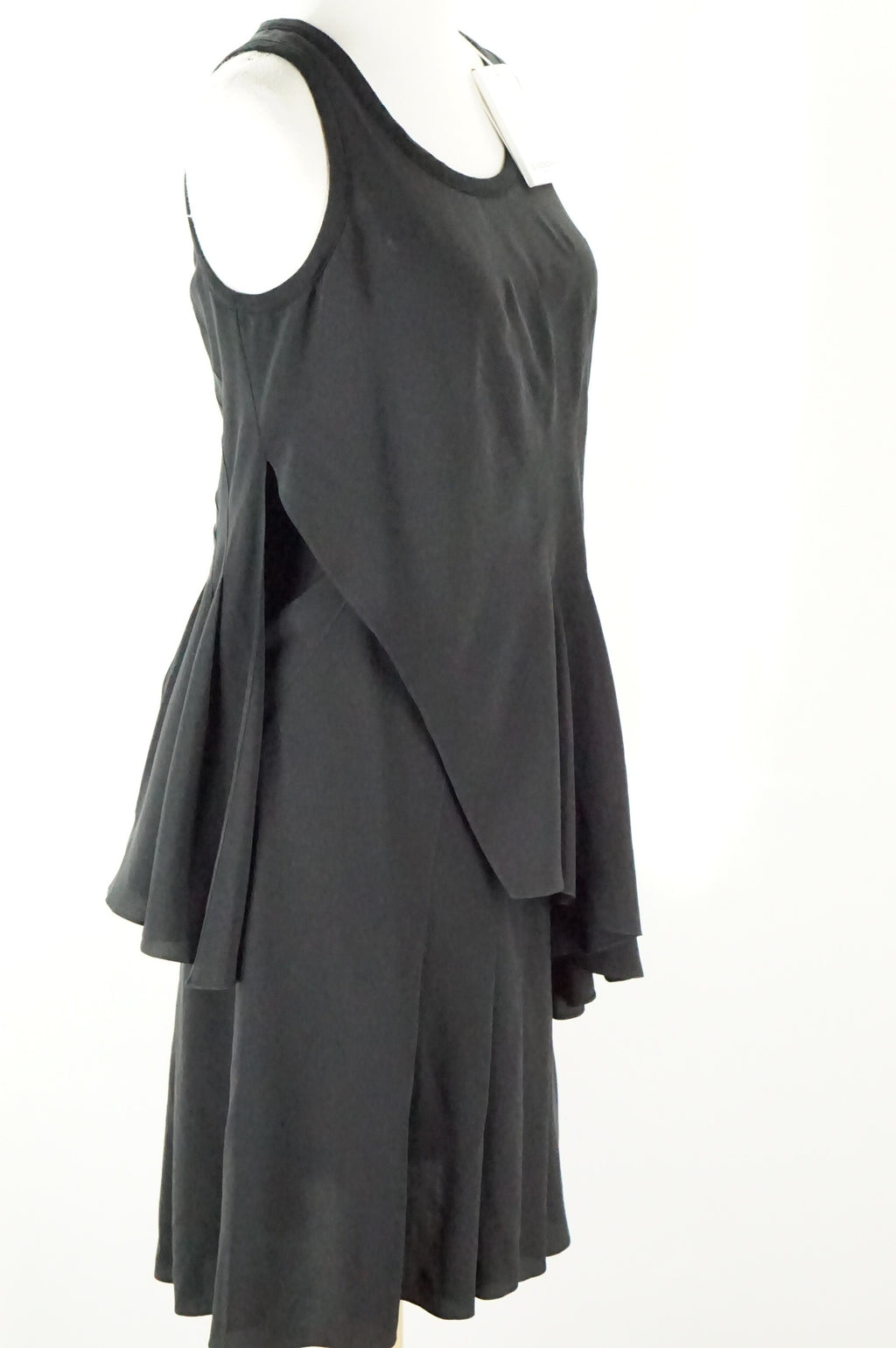 Givenchy Black Silk Tiered Pleated Sleeveless Dress SZ 38 FR 6 US New $1990