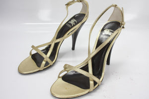 Burberry Metallic Gold Logo check Leather Strappy Sandals SZ 39.5 9 US New $550