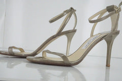 Jimmy Choo Minny Metallic Patent Leather Ankle Strap Sandals SZ 39 New Heel $850