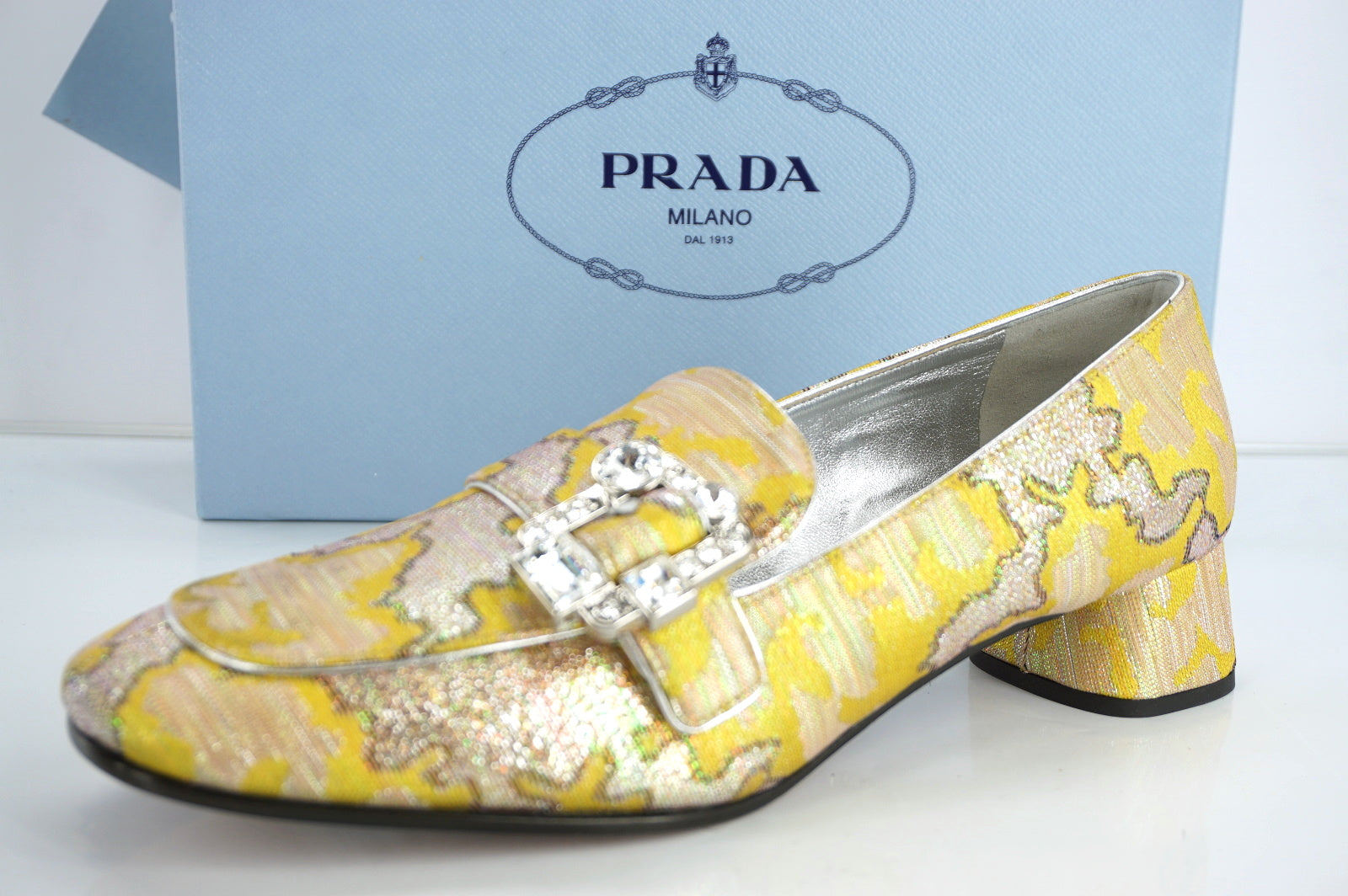 Prada Metallic Jacquard Lurex Jewel Block Heel Pump Size 37 Moccasin Belted $890