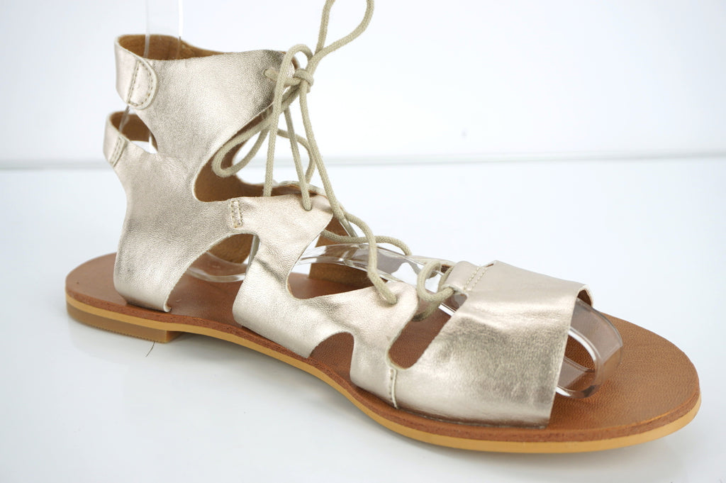 Nordstrom Brass Plum BP Gold Leather Ankle Strappy Flat Caged Sandal SZ 6.5 New