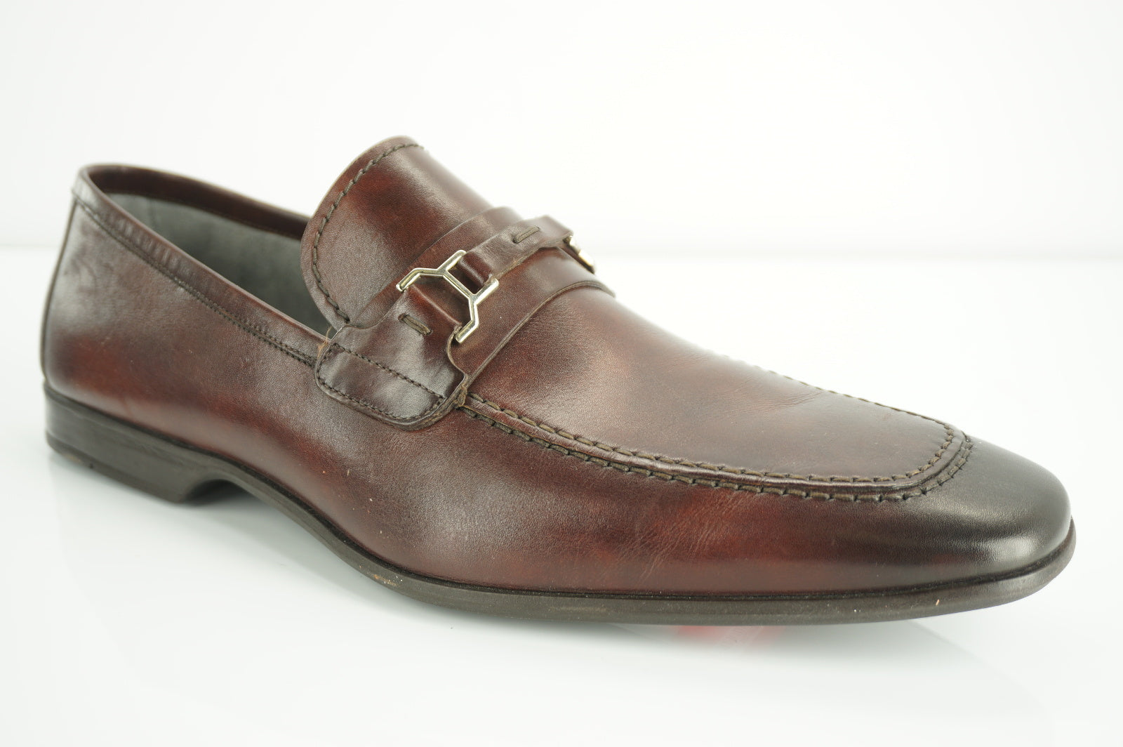 Magnanni Chaplin Lino Brown Leather Apron Toe Loafers Size 10 Men's Shoe $335