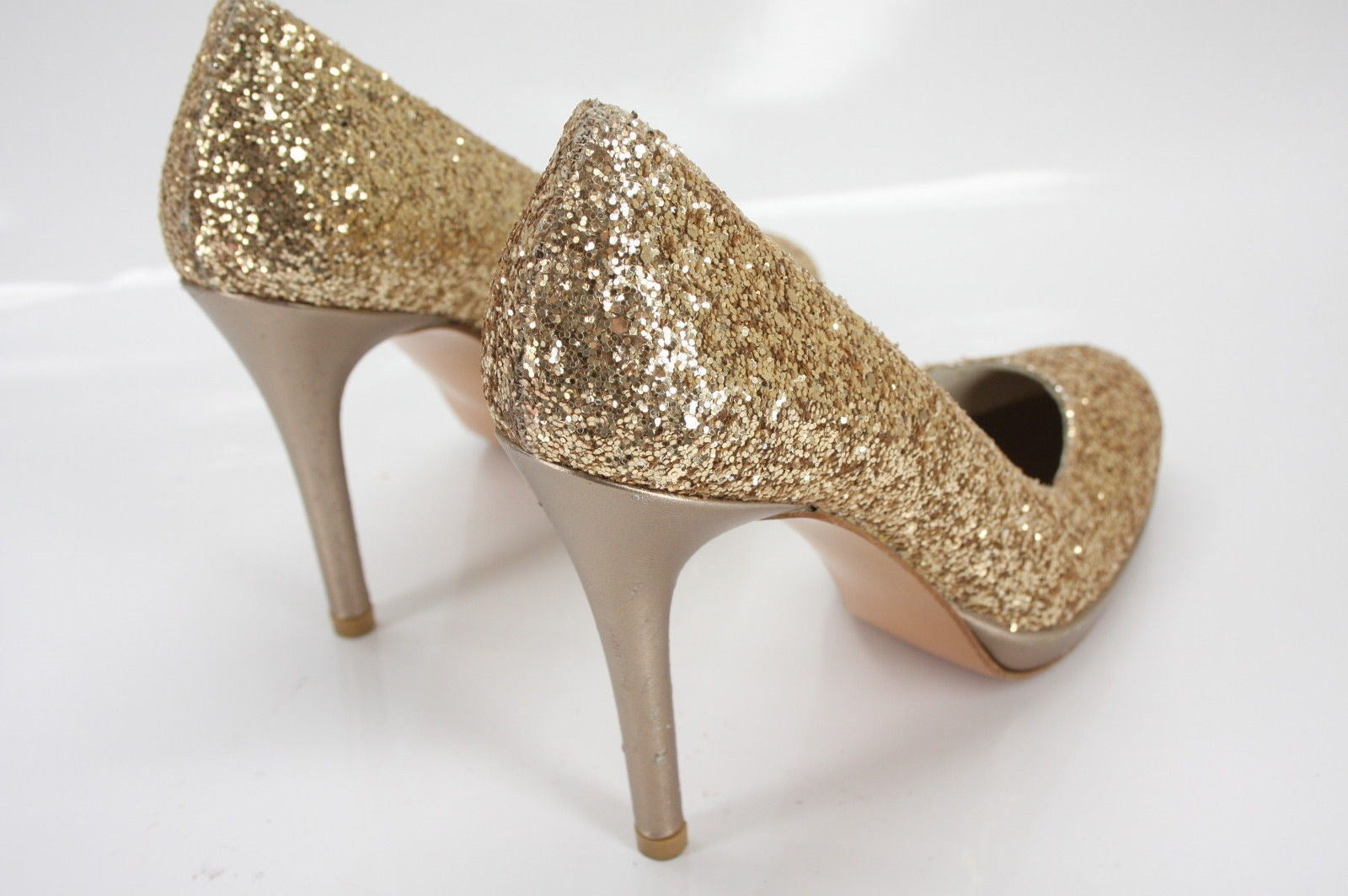Stuart Weitzman Gold Glitter Glitswoon Platform Pumps SZ 8N Narrow New $375