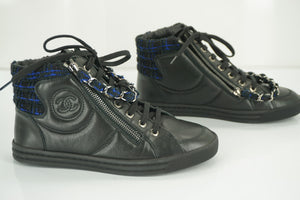 NIB Chanel XL CC Logo High Top Sneakers SZ 35 Chain Zip Tweed $1025 NIB
