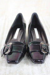 Pura Lopez Oily black patent Buckle Toe pumps Size 39 New $315