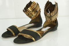Jimmy Choo Kimro Fringe Ankle Cuff Wrap Leather Flat Sandals Size 38 $995 NIB