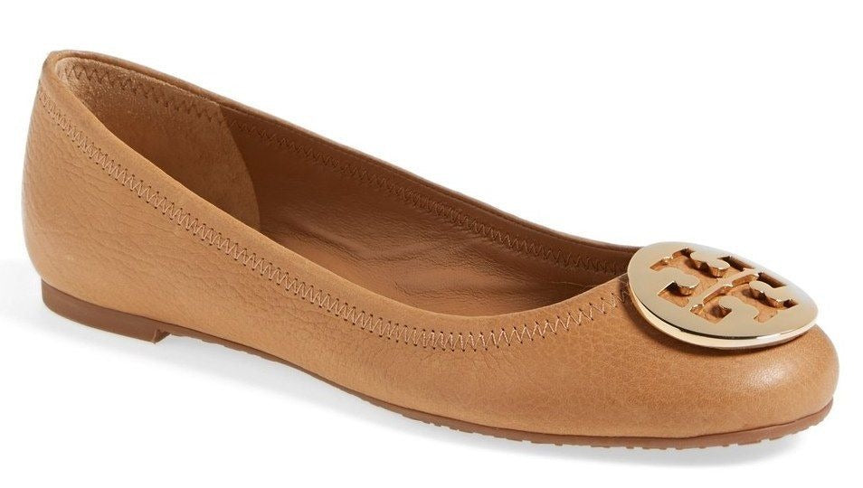 Tory Burch Reva Brown Leather Gold Medallion Ballet Flats SZ 7 Logo $245 Tan