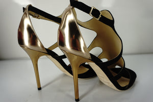 Jimmy Choo Tida Metallic Black Cut Out Strappy Sandals SZ 38 High Heels New $925