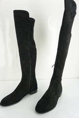 Stuart Weitzman Allgood Over the Knee Black Suede Boots SZ 8.5 NIB OTK $765 5050