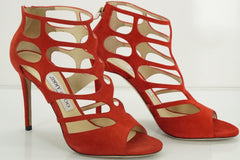 Jimmy Choo Ren Caged Strappy Suede Cutout Sandals SZ 37.5 High Heels NIB $750