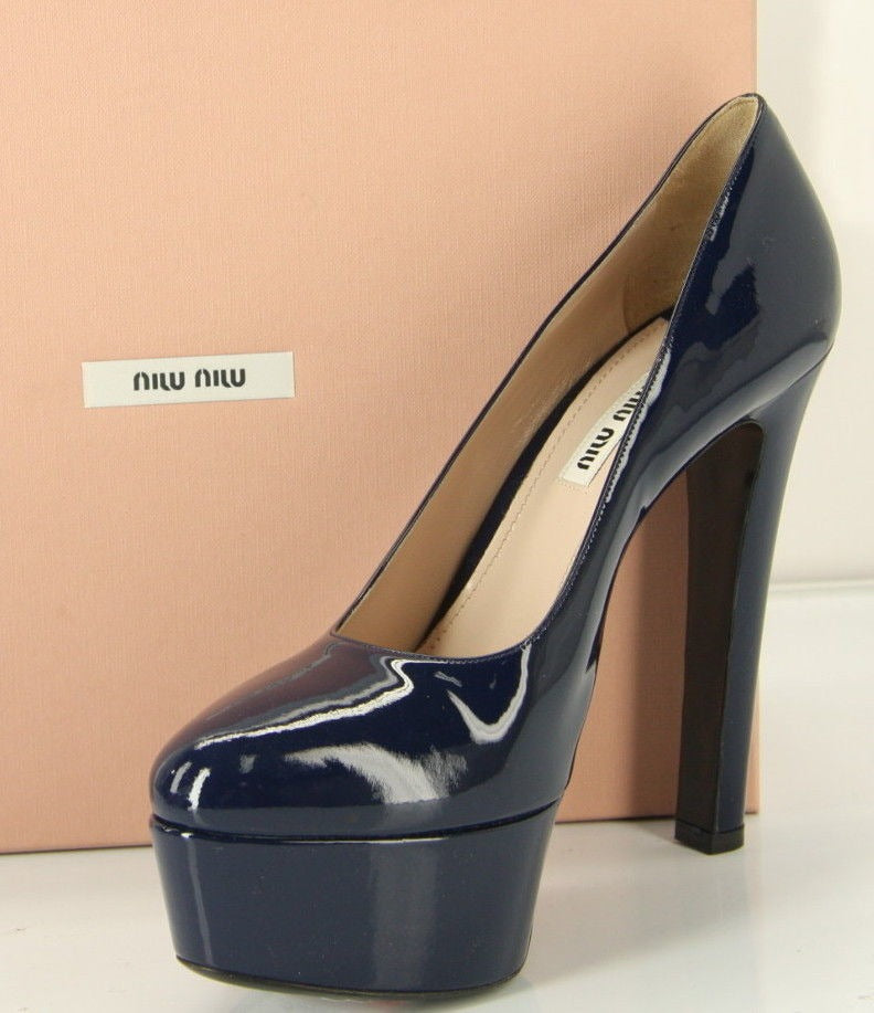 Miu Miu Blue Patent Platform Almond Toe High Heels Pumps Size 39.5 $685 New