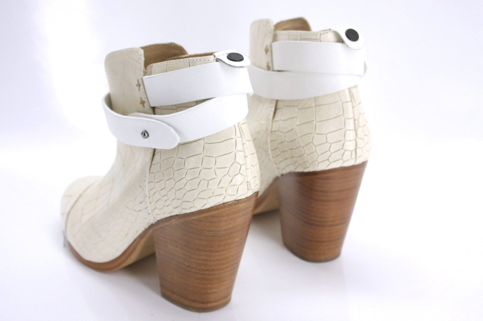 Rag & Bone Ivory Leather Harrow Ankle Booties SZ 39.5 Belted Block Heel New $550