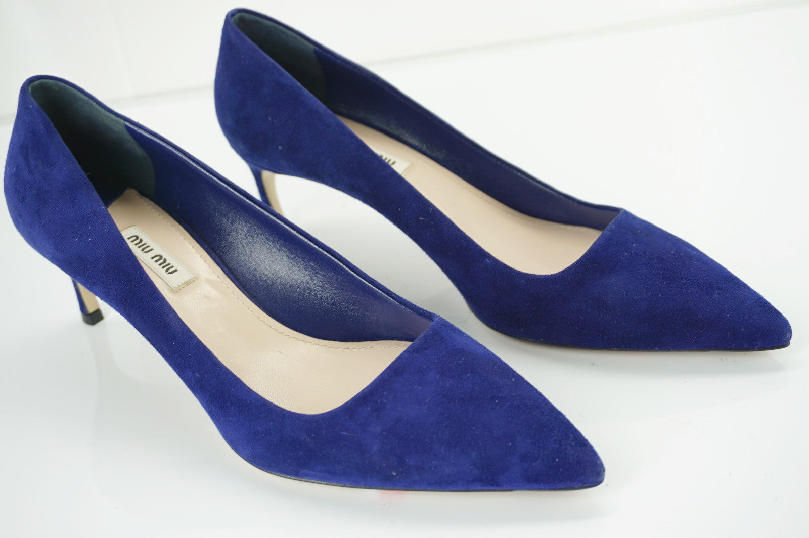 Miu Miu Blue Suede Pointy Toe Mid Heel Pumps Size 40 10 New $590