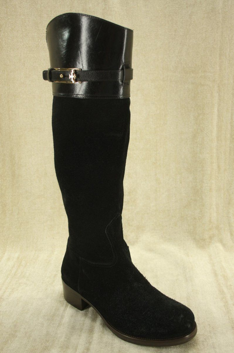 Tory Burch Black Suede 'Jenna' Logo Riding Boots Size 6 New $495