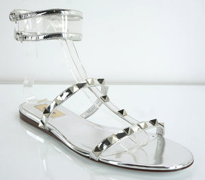 Valentino Silver Leather Rockstud Moonwalk Strappy Sandal Size 37 Gladiator $845