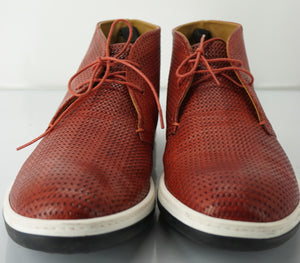 Giorgio Armani Red Perforated Leather High Top Sneakers Size 9.5 New $615 Chukka