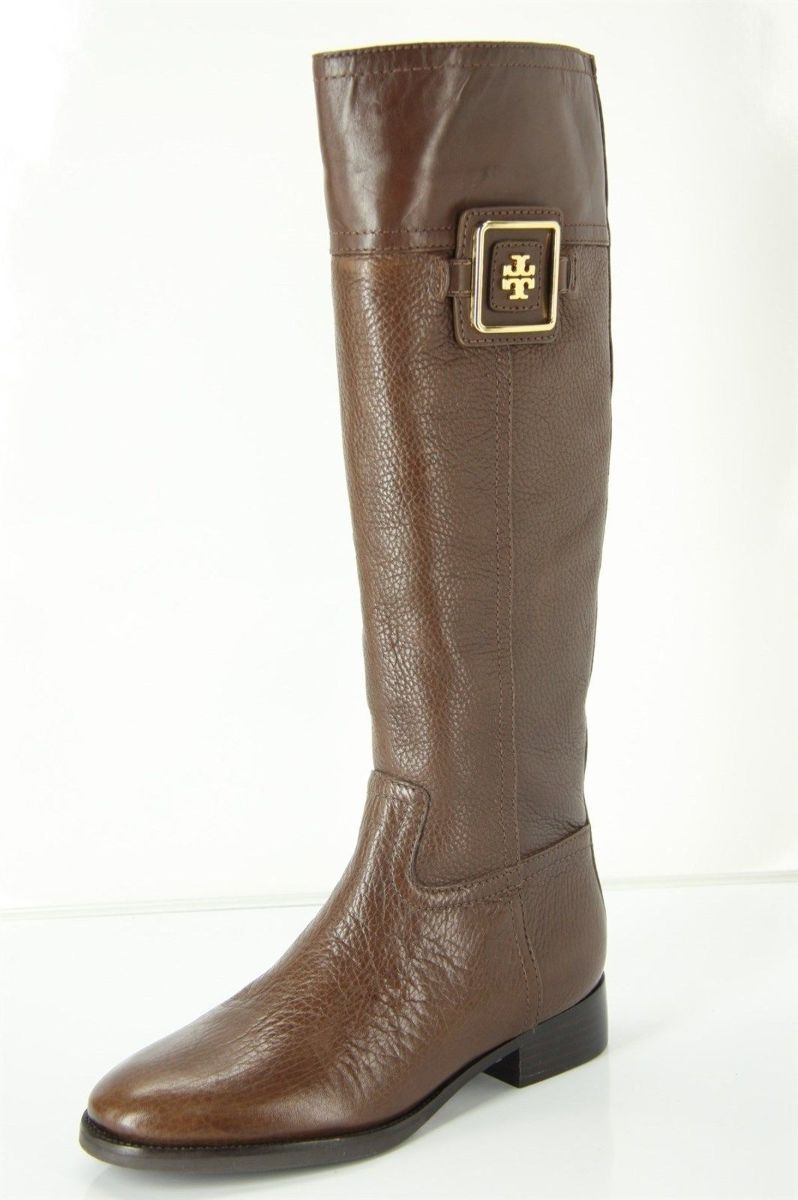 Tory Burch Brown Leather Julian Riding Boots Size 5.5 Logo Plaque New $495