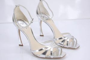 Christian Dior Silver Metallic Leather Ankle Strap Criss Sandals Size 39.5 $810