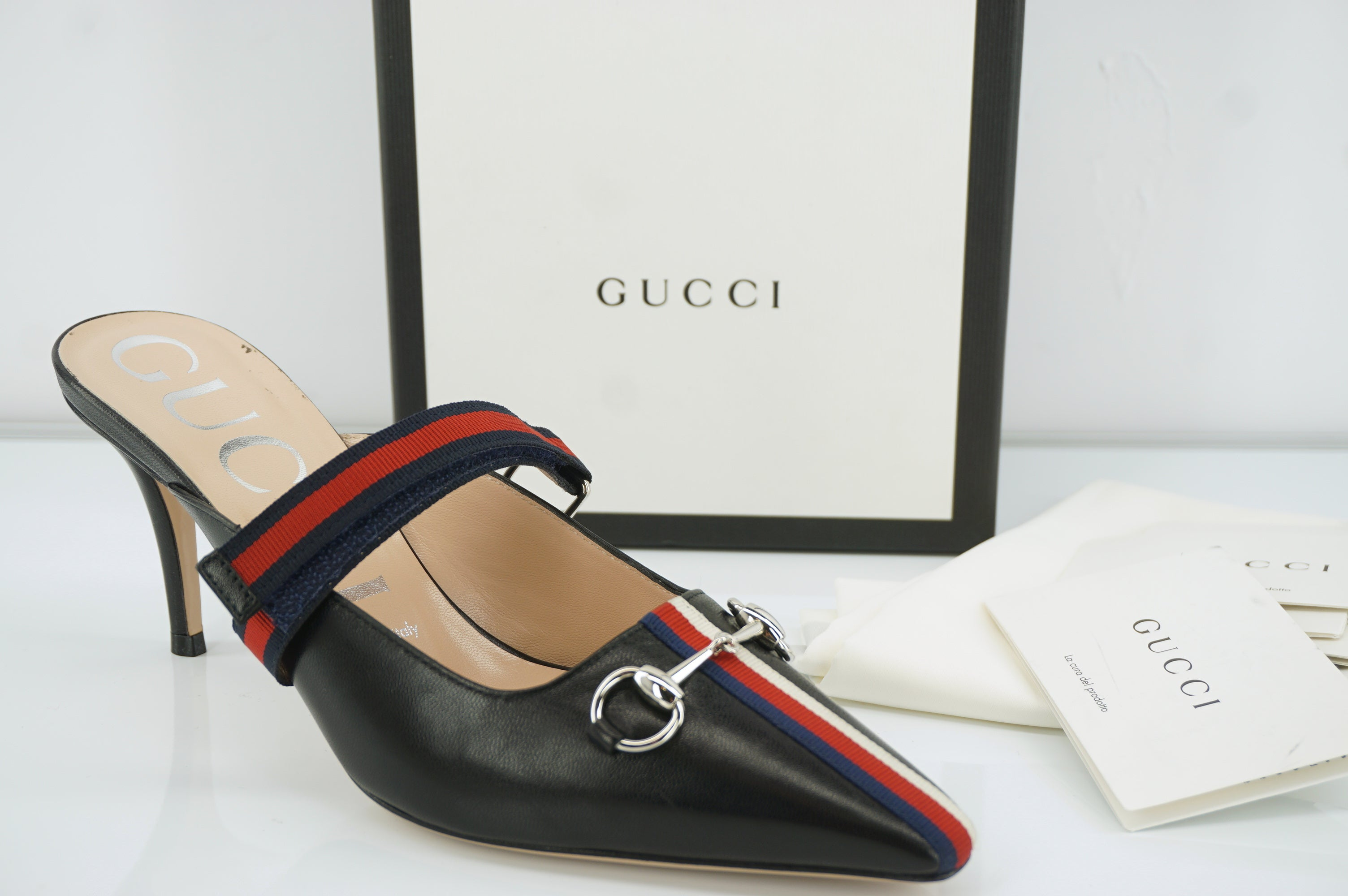 Gucci Emma Horsebit Black Leather Web Trim Slide Mule Sandal Size 37.5 NIB