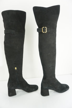 Prada Black Suede Leather Over The Knee Block Heel Boots Size 37 New Tall $1895