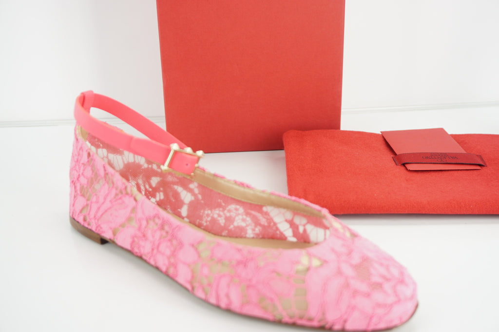 Valentino Womens Lace Ankle Strap Flats Flats Pink Leather Size 37