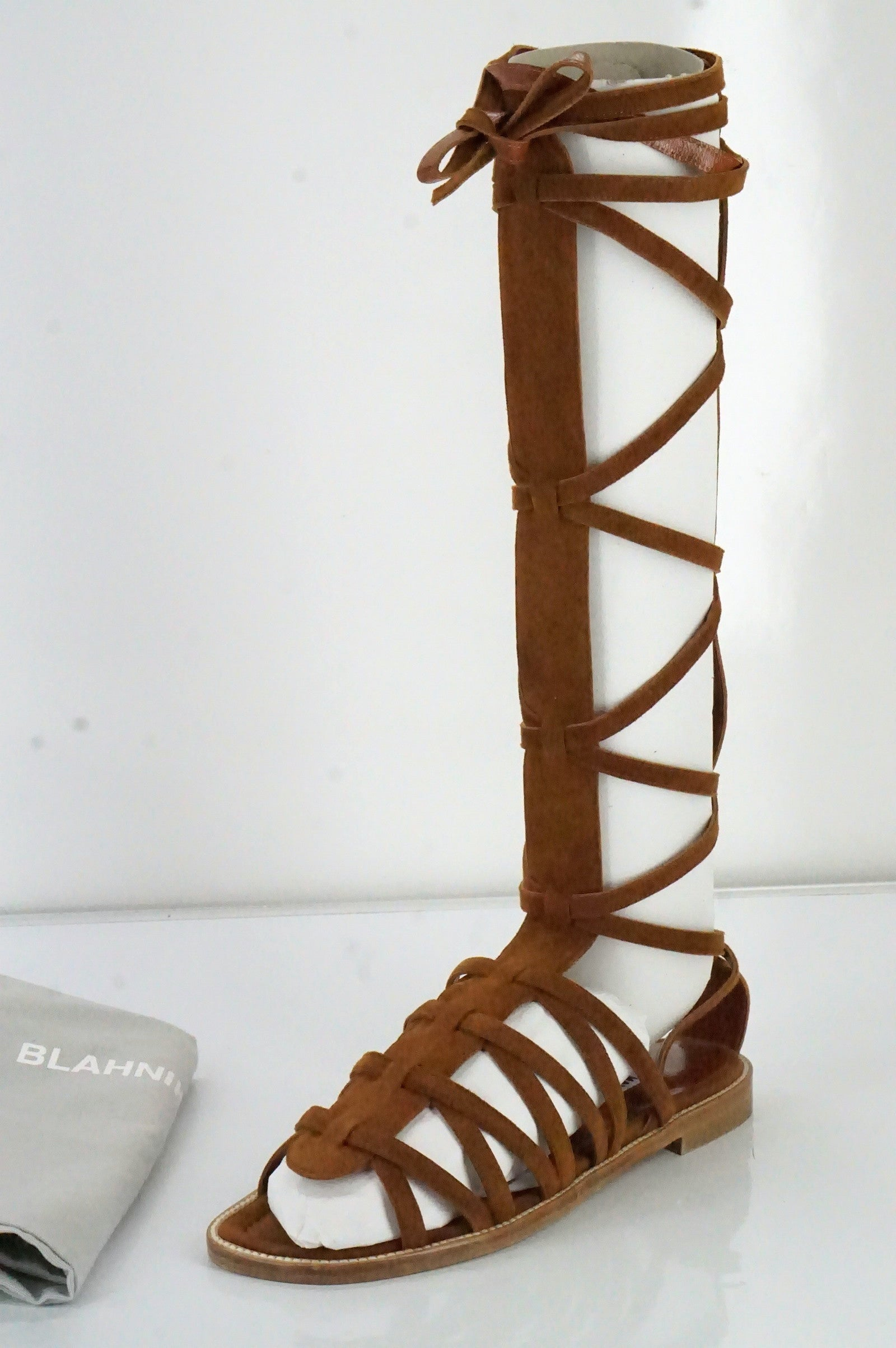 Manolo Blahnik Brown Suede 'Martihizi' Gladiator Sandals Size 36.5 New $1245