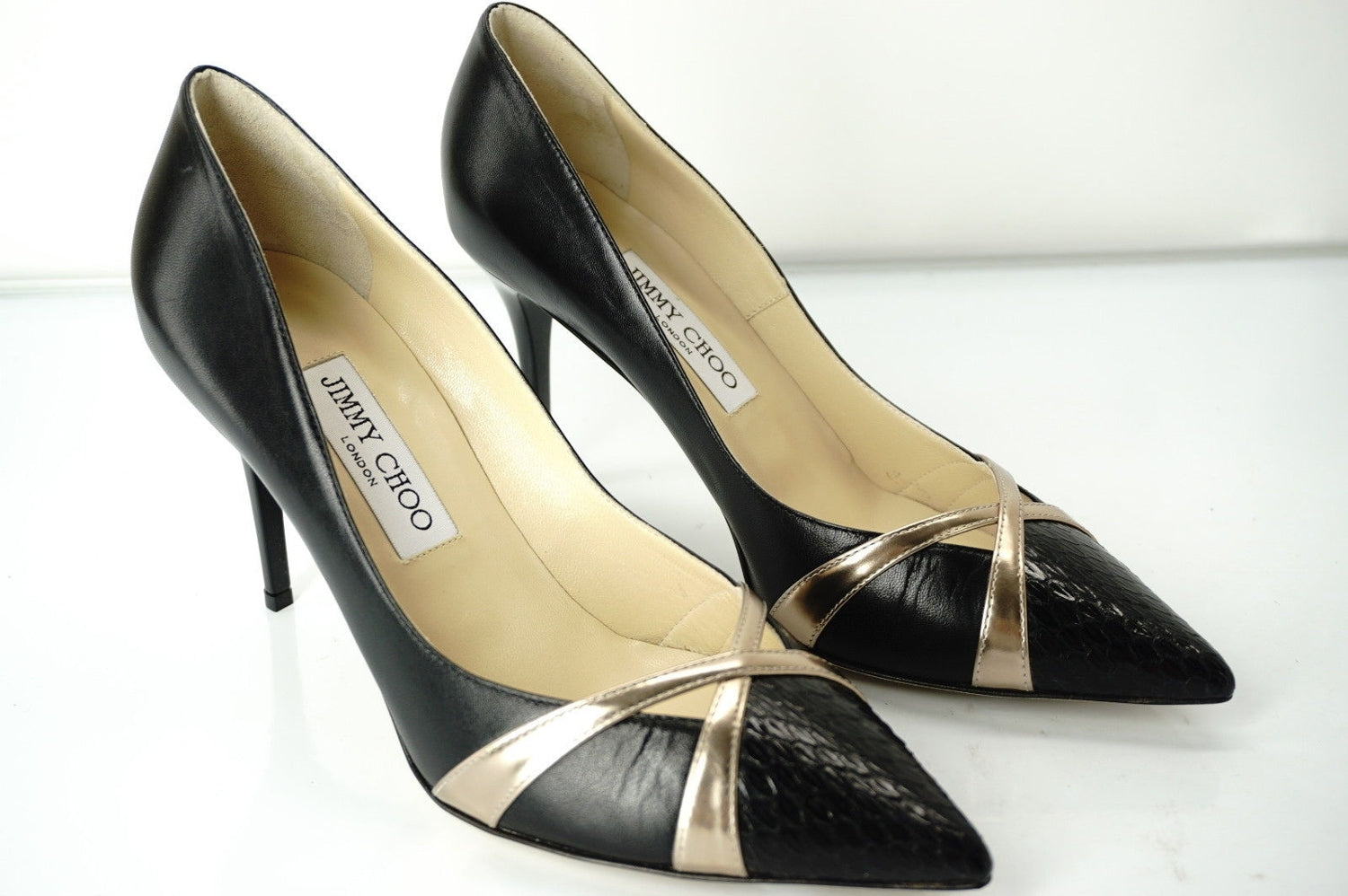 Jimmy Choo Gold Criss Haxeel Pointed Toe Heel Formal Pumps Size 38.5 NIB $795
