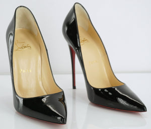 Christian Louboutin So Kate Black Patent Pointy High Heel Pumps SZ 37.5 $675