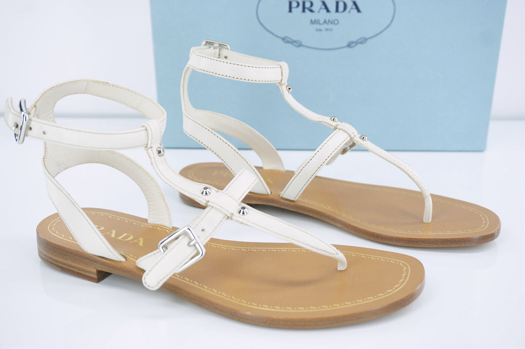 Prada Leather Ankle Strappy Thong Flat Sandals Size 36 NIB $650