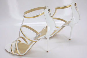 Jimmy Choo Thistle T Strap Stiped High Heel Sandals SZ 40.5 10.5 New Gold $795