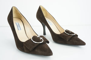 Prada Brown Suede Leather Pointy Bow Toe Heel Pumps size 38 Women $750 Strap Bow