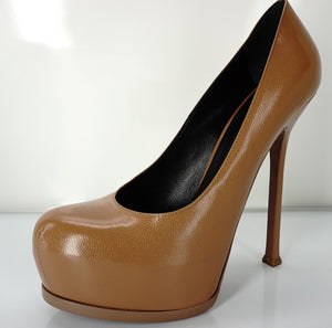 Saint Laurent Dark Tan Leather Tribute Platform Pumps Size 39.5 YSL NEW $850
