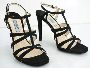 Prada Strappy Black Suede T Strap High Heel Cage Sandals Size 37.5 New Ankle